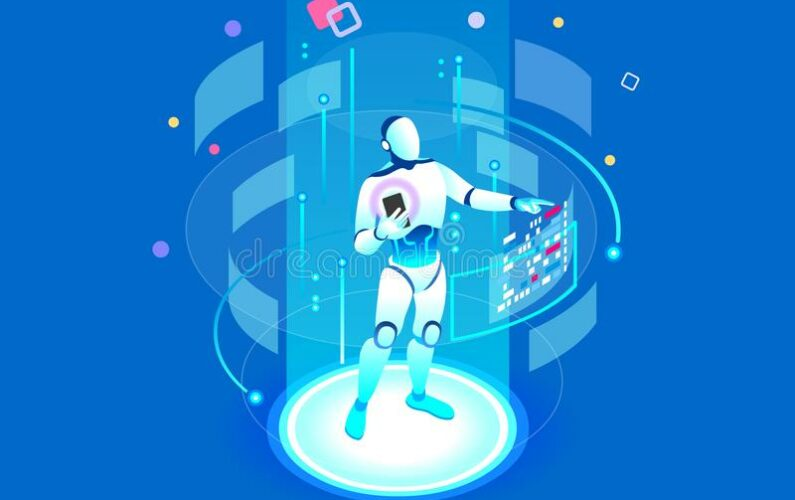 flat-isometric-banner-ai-future-smartphone-geometric-laptop-mind-machine-application-assistant-connection-pc-123158886
